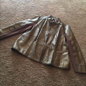 Jackets & Blazers - Leather-like plus size Gold Jacket